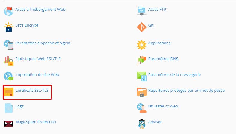 plesk certificat SSL/TLS