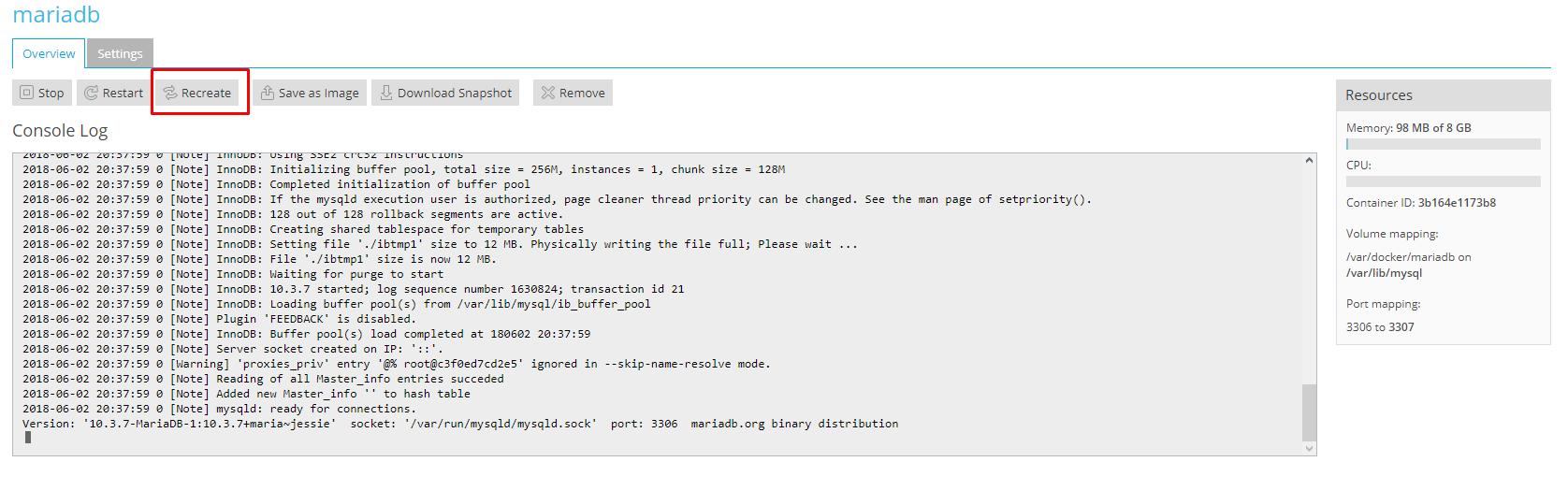 How to run MariaDB 20.20 on Plesk Onyx with Docker   VirtuBox